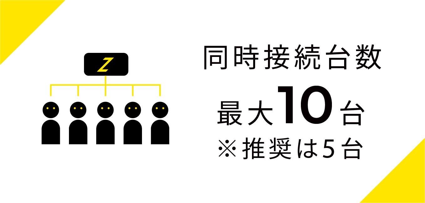 同時接続台数最大10台 ※推奨は5台