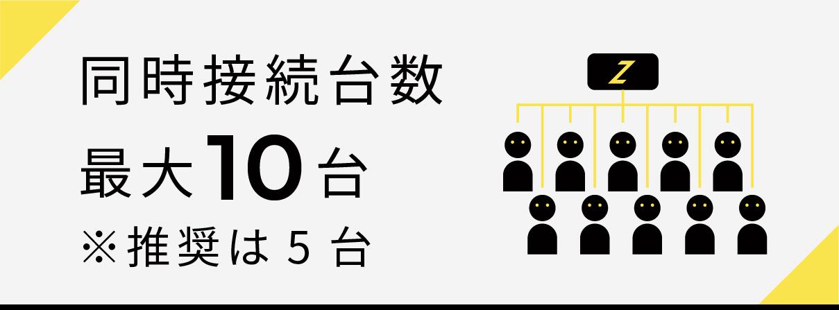 同時接続台数最大10台※推奨は5台